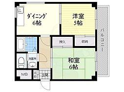 マンション暁紅園 5階2DKの間取り