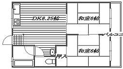 レジデンス西田B棟[B106号室]の間取り