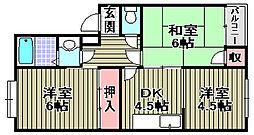小津浜ハイツ[1C号室]の間取り