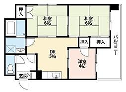 福岡県北九州市八幡東区中央2丁目の賃貸マンションの間取り