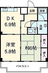 愛知県安城市横山町寺田の賃貸マンションの間取り