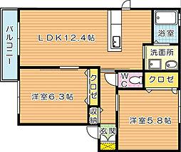 コルノSK弐番館[2階]の間取り