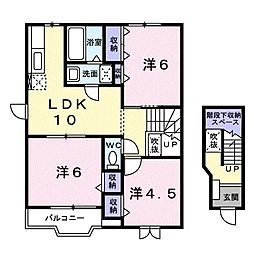 メープルアベニュー B[0201号室]の間取り