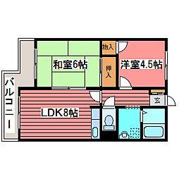コーポ佐野富月寒東[3階]の間取り