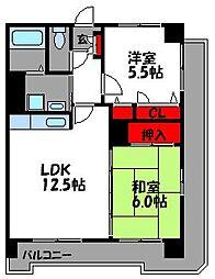 グレイスフルM箱崎東[4階]の間取り