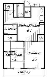 レジデンスジョービル[3階]の間取り