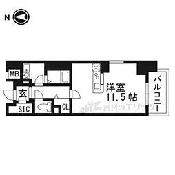 LIBRA TAKATSUKI 5階1Kの間取り