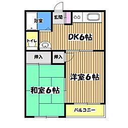 東京都あきる野市雨間の賃貸マンションの間取り