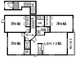 南海線 樽井駅 徒歩18分の賃貸アパート 2階3LDKの間取り