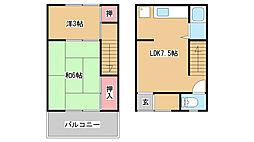 兵庫県神戸市須磨区妙法寺字筆前の賃貸アパートの間取り