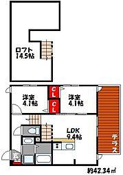 JR香椎線 和白駅 徒歩3分の賃貸アパート 2階2LDKの間取り