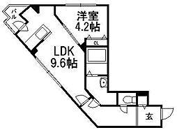 プレジング発寒[4階]の間取り