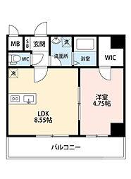 阪急千里線 吹田駅 徒歩8分の賃貸マンション 2階1LDKの間取り
