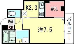 ソレイユ清元 3階1Kの間取り