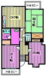 埼玉県さいたま市大宮区上小町の賃貸マンションの間取り