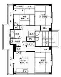 ビレッジハウス大島3号棟4階Fの間取り画像