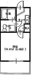 神奈川県相模原市中央区上溝3丁目の賃貸アパートの間取り