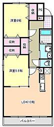 三重県四日市市清水町の賃貸マンションの間取り