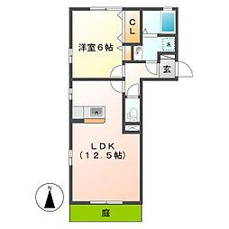 岡山県倉敷市連島中央5の賃貸アパートの間取り