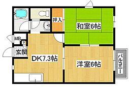 兵庫県高砂市神爪4の賃貸アパートの間取り