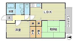 兵庫県姫路市山吹1丁目の賃貸アパートの間取り