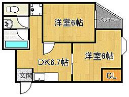 ソナーレ山本[2階]の間取り