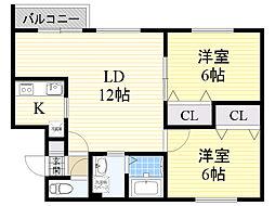 北海道札幌市東区北18条東10丁目の賃貸マンションの間取り