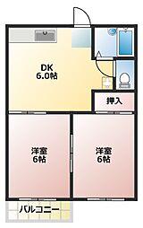 蒼竜庵[201号室]の間取り
