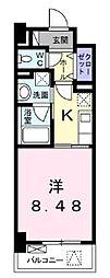 高松琴平電気鉄道琴平線 栗林公園駅 徒歩8分の賃貸マンション 6階1Kの間取り