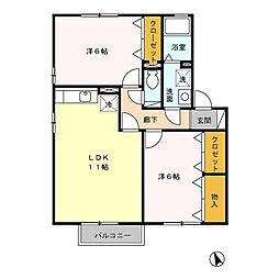新潟県新潟市西区ときめき西3丁目の賃貸アパートの間取り