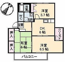 広島県福山市山手町7丁目の賃貸アパートの間取り