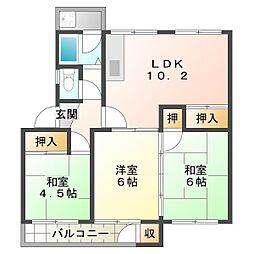 狩口台住宅21号棟[4階]の間取り