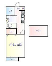JR仙山線 東北福祉大前駅 徒歩12分の賃貸アパート 1階1Kの間取り