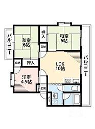 東別府ハイツ[3階]の間取り