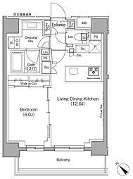 東京メトロ有楽町線 月島駅 徒歩1分の賃貸マンション 10階1LDKの間取り