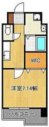 (仮称)折尾4丁目賃貸マンション 6階1Kの間取り