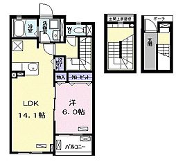 流山アパートA 3階1LDKの間取り