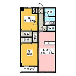 コーポラス2さわきA[1階]の間取り