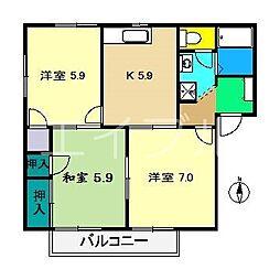 クレセントガーデン A棟[2階]の間取り