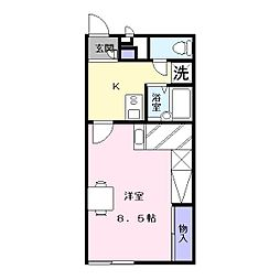 奈良県天理市三昧田町の賃貸アパートの間取り