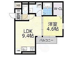 (仮称)D-room泉大津市若宮町 2階1LDKの間取り