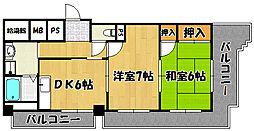 兵庫県明石市野々上3丁目の賃貸マンションの間取り