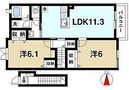 近鉄大阪線 大和朝倉駅 徒歩16分の賃貸アパート 2階2LDKの間取り