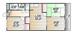 兵庫県三田市相生町の賃貸マンションの間取り