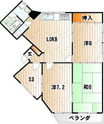 福岡県北九州市小倉北区大門1丁目の賃貸マンションの間取り