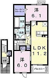 JR瀬戸大橋線 植松駅 徒歩13分の賃貸アパート 2階2LDKの間取り
