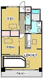 ルネスボナール 3階2LDKの間取り