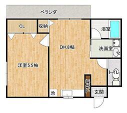 バス 武富下車 徒歩2分の賃貸アパート 3階1DKの間取り