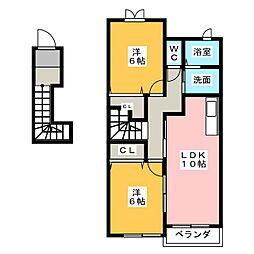 静岡県静岡市清水区三保の賃貸アパートの間取り