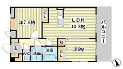 兵庫県姫路市東山の賃貸マンションの間取り